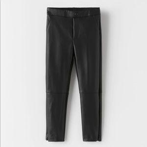 Zara FAUX LEATHER PANTS women's
